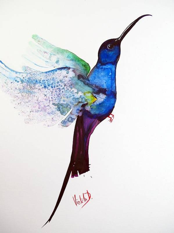 Hummingbird Poster featuring the painting Hummingbird 12 by Violeta Damjanovic-Behrendt