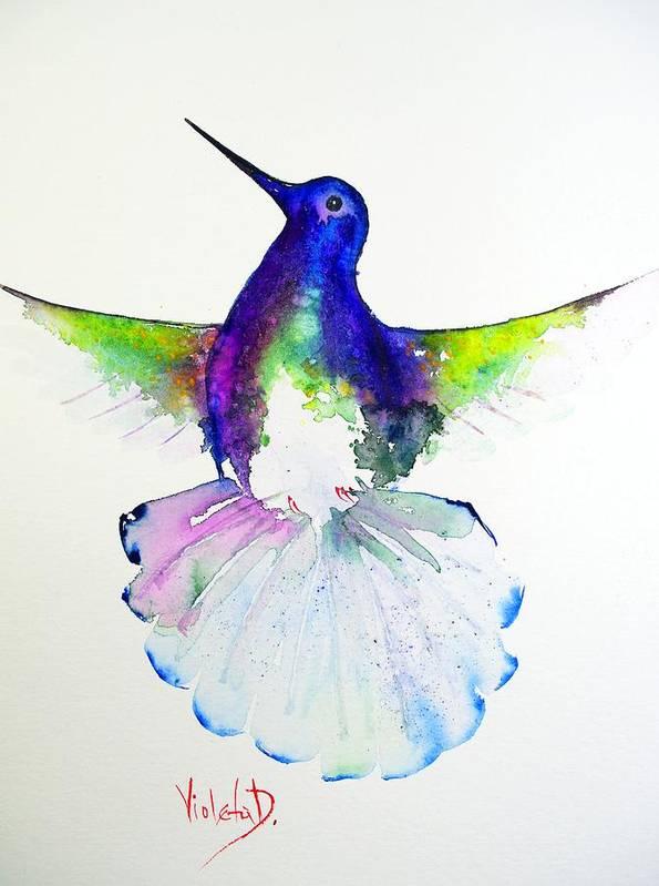 Hummingbird Poster featuring the painting Hummingbird 4 by Violeta Damjanovic-Behrendt