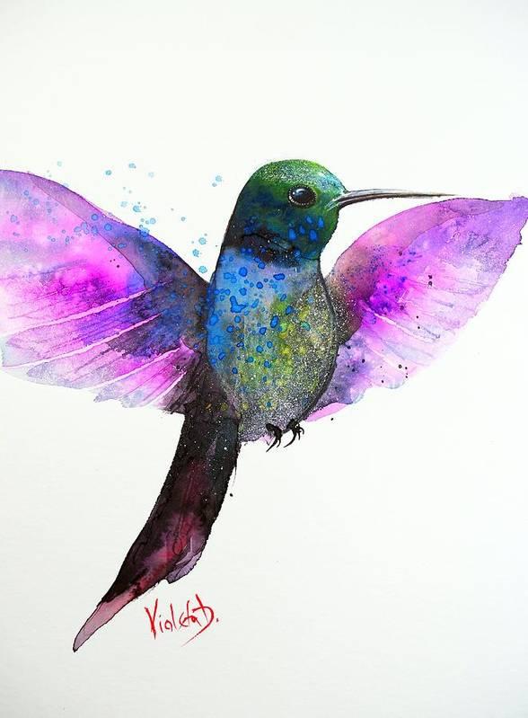 Hummingbird Poster featuring the painting Hummingbird 7 by Violeta Damjanovic-Behrendt