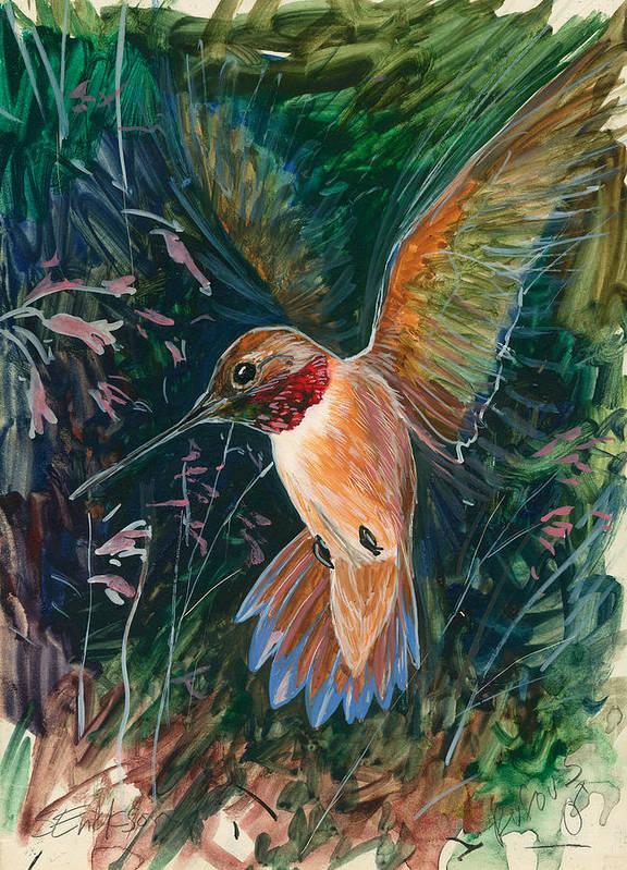 Hummingbird Poster featuring the painting Hummingbird by Shari Erickson