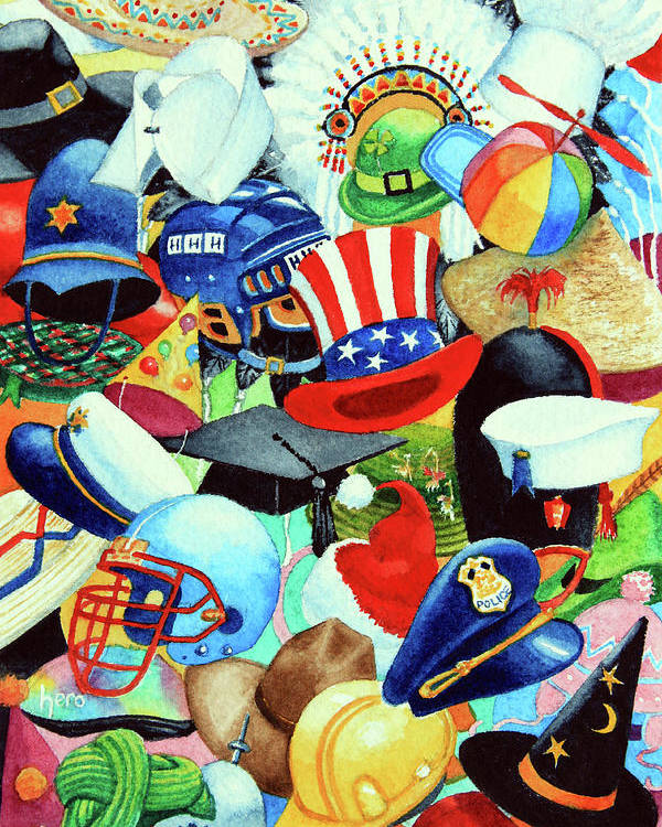Hundreds Of Hats Art Print Poster featuring the painting Hundreds Of Hats by Hanne Lore Koehler