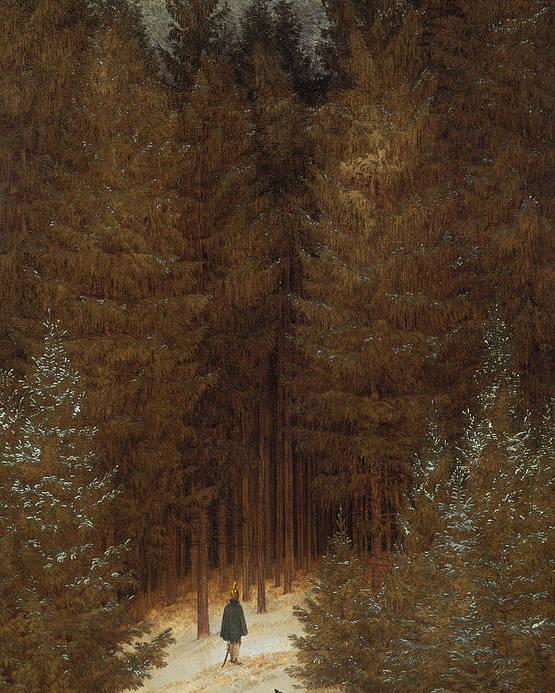 Caspar David Friedrich Poster featuring the painting Hunter In The Forest by Caspar David Friedrich