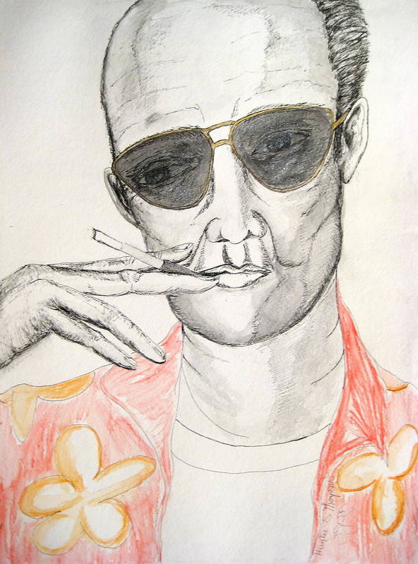 Hunter Thompson Gonzo Journalist Portrait Man Darkestartist Darkest Artist Poster featuring the painting Hunter S. Thompson by Darkest Artist