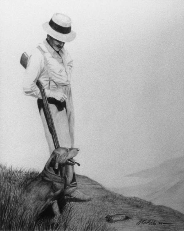 Man And Dog Poster featuring the drawing Hunters by Joe Costello