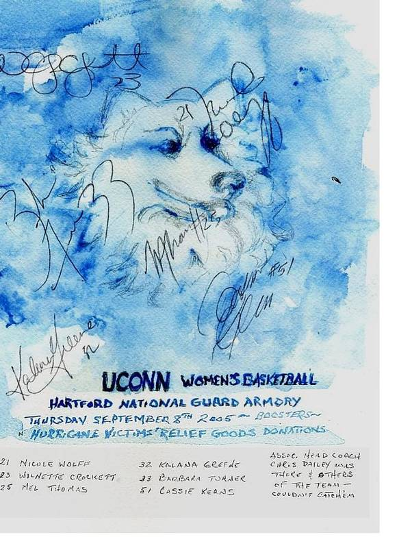 Sports Poster featuring the painting Huskies team and Mascot-Armory 2005 by Elle Smith Fagan