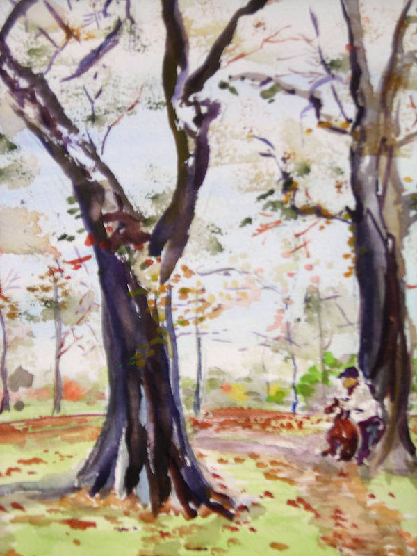 Landscape Poster featuring the painting Hyde Park Autumn II by Nancy Brennand