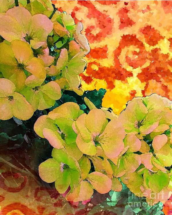Contemporary Art Poster featuring the painting Hydrangeas And Swirls by Desiree Paquette