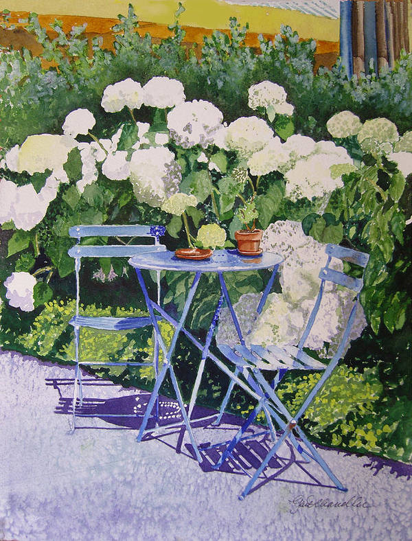 Cityscape Poster featuring the painting Hydrangeas At Angele by Gail Chandler