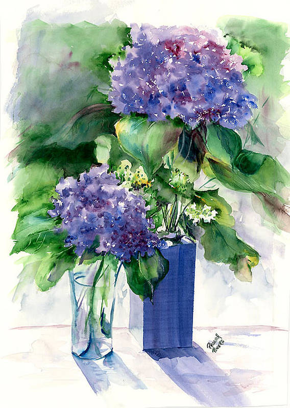 Flower Poster featuring the painting Hydrangeas In Vases by Priscilla Powers