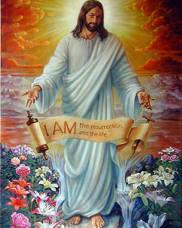 Jesus Christ Poster featuring the painting I Am The Resurrection by John Lautermilch