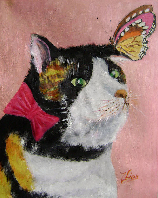 Cats Poster featuring the painting I hate butterflies by Lian Zhen