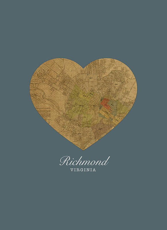 I Heart Poster featuring the mixed media I Heart Richmond Virginia Street Map Love Americana Series No 057 by Design Turnpike