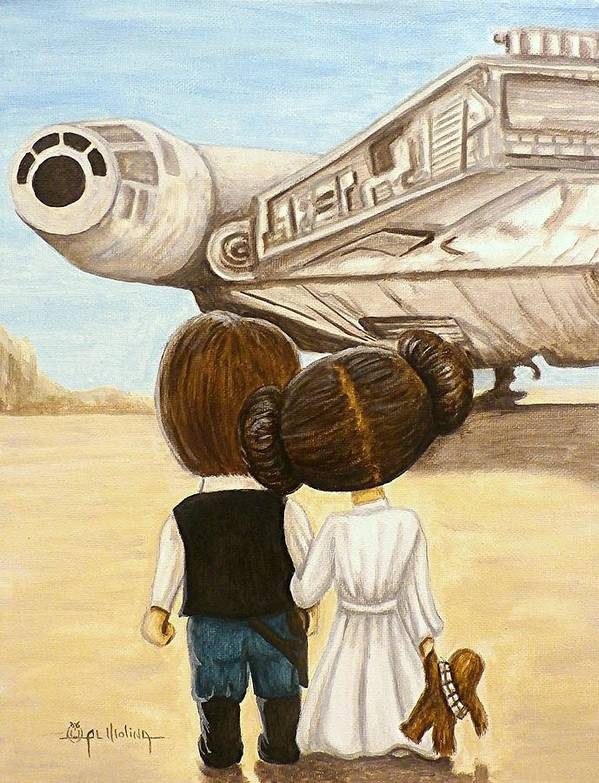 Star Wars Poster featuring the painting I love you   I know by Al Molina