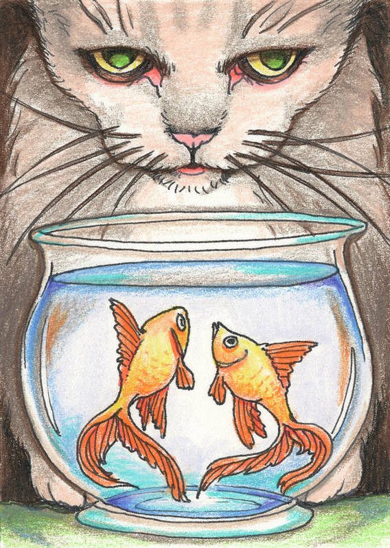 Atc Poster featuring the drawing I Loves Fishes by Amy S Turner
