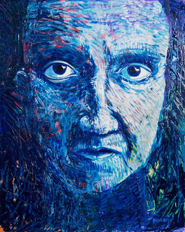 Blue Poster featuring the painting I See You In So Many Ways by Rollin Kocsis