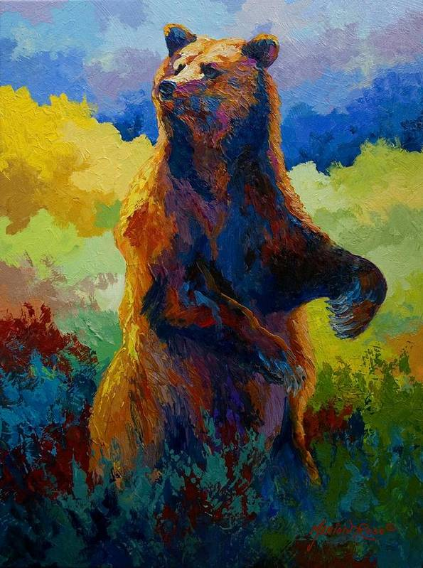 Bear Poster featuring the painting I Spy - Grizzly Bear by Marion Rose