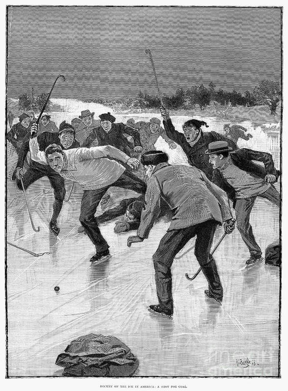 1898 Poster featuring the photograph Ice Hockey, 1898 by Granger