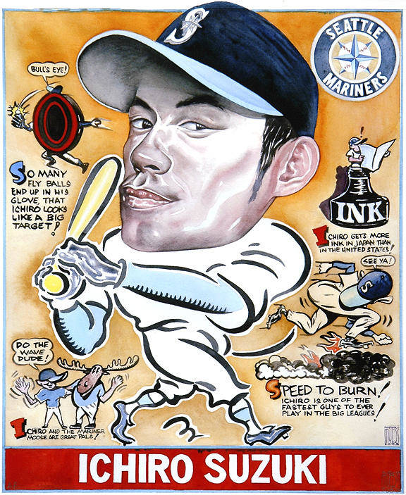 Baseball Poster featuring the painting Ichiro. by Robert Myers