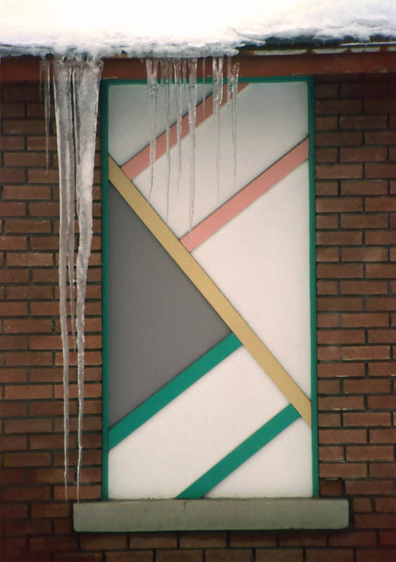 Architecture Poster featuring the photograph Icicles 3 - In Front Of Architectural Design Off Red Brick Bldg. by Steve Ohlsen