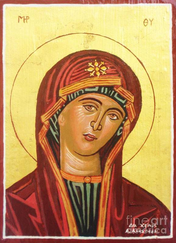 Icon Poster featuring the painting Icon Of The Virgin Mary. by Anastasis Anastasi
