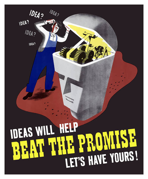 Wwii Poster featuring the digital art Ideas Will Help Beat The Promise by War Is Hell Store