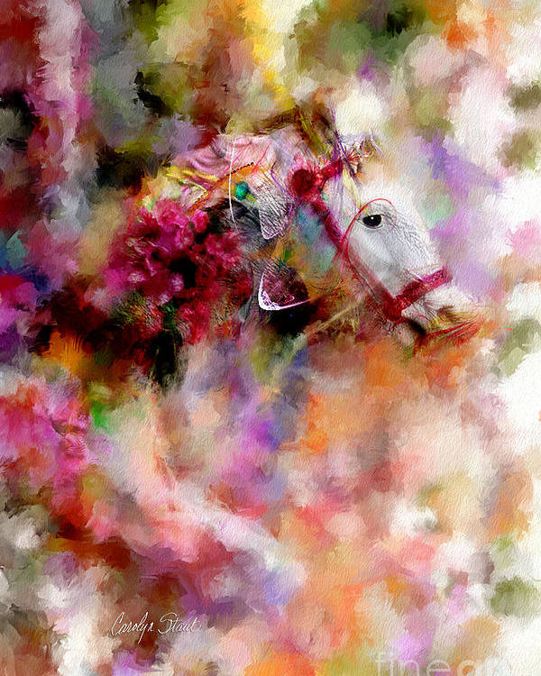 Abstract Horses Abstract Realism Bright Poster featuring the painting If Wishes Were Horses... by Carolyn Staut