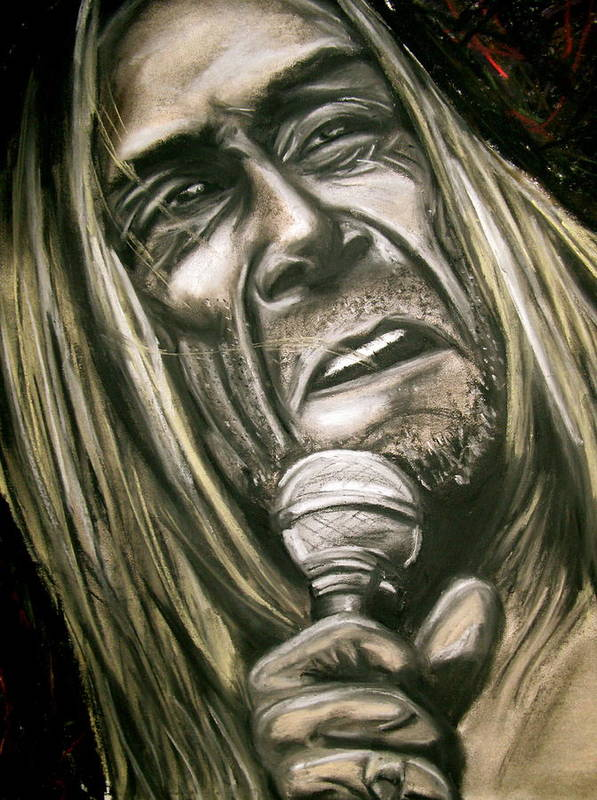 Iggy Poster featuring the drawing Iggy Pop by Zach Zwagil