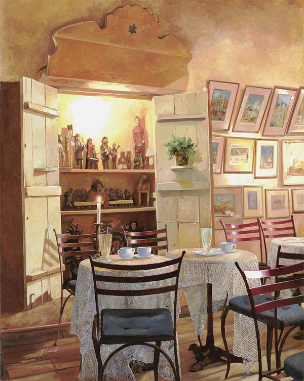 Cafe Poster featuring the painting Il Caffe Dell'armadio by Guido Borelli