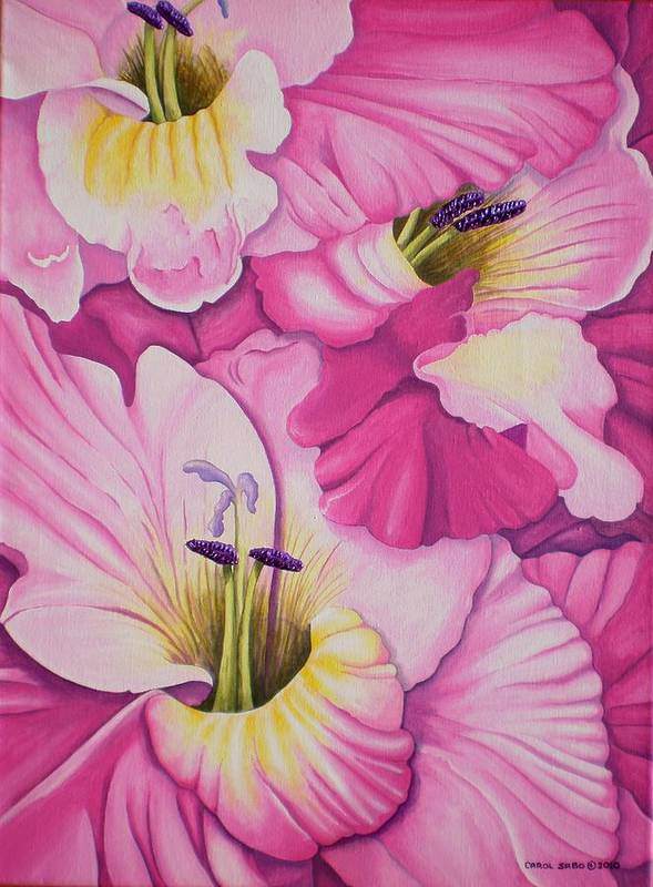 Acrylic Poster featuring the painting I'm So GLADiolas by Carol Sabo