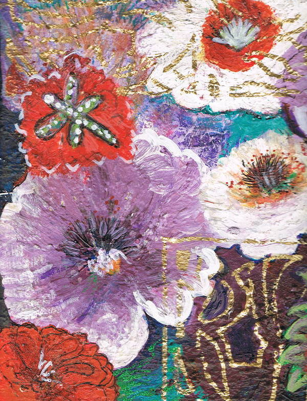 Flowers Poster featuring the mixed media Imagine Flowers Instead Of Powers by Anne-Elizabeth Whiteway