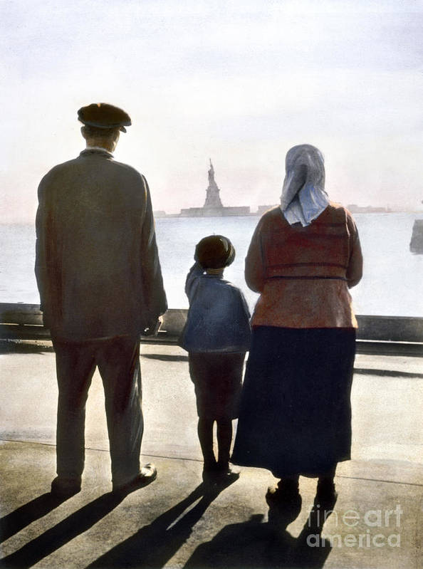1920 Poster featuring the photograph Immigrants: Ellis Island by Granger