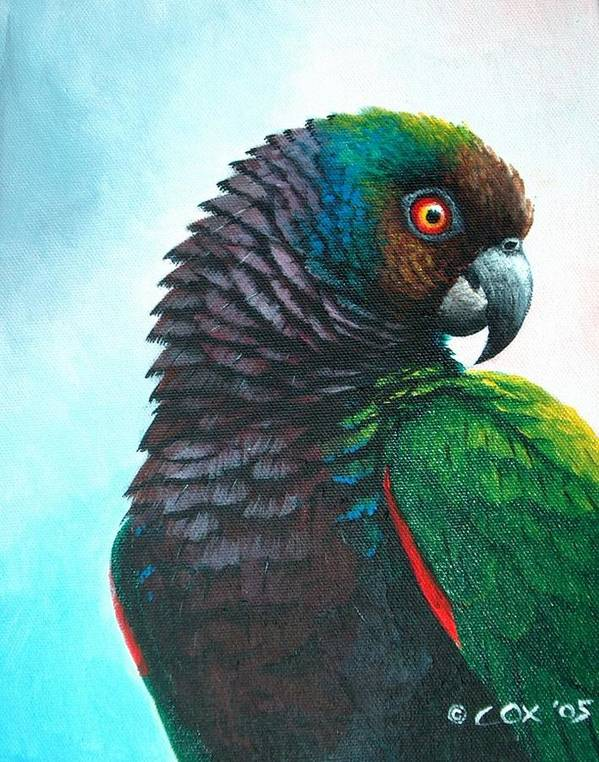 Chris Cox Poster featuring the painting Imperial Parrot by Christopher Cox