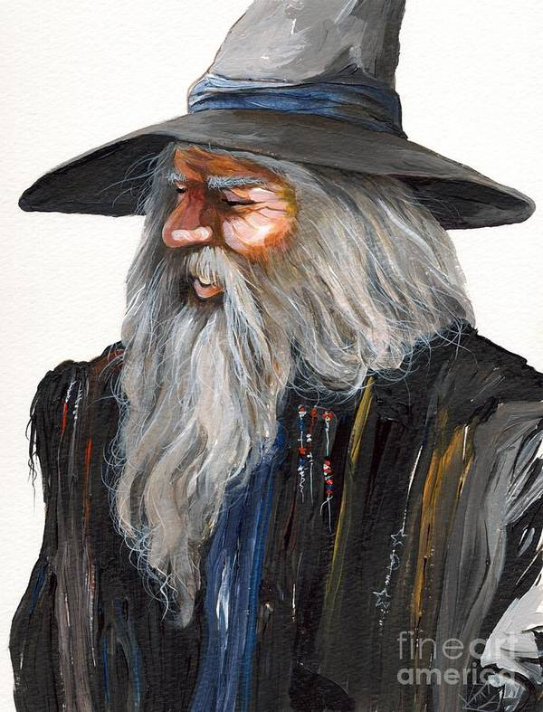 Fantasy Art Poster featuring the painting Impressionist Wizard by J W Baker