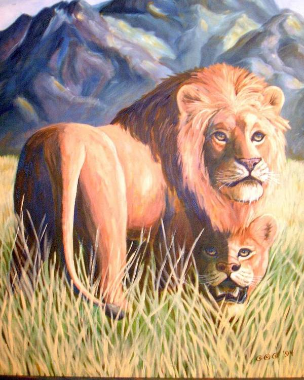 Lions Poster featuring the painting In Lions Time by George I Perez