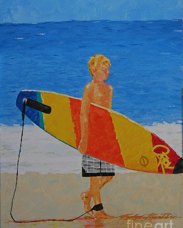 Beach Art Poster featuring the painting In Search Of A Ride by Art Mantia