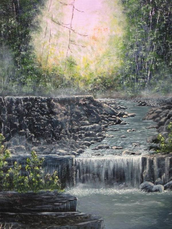 Landscape Poster featuring the painting In The Beginning by Sheila Banga