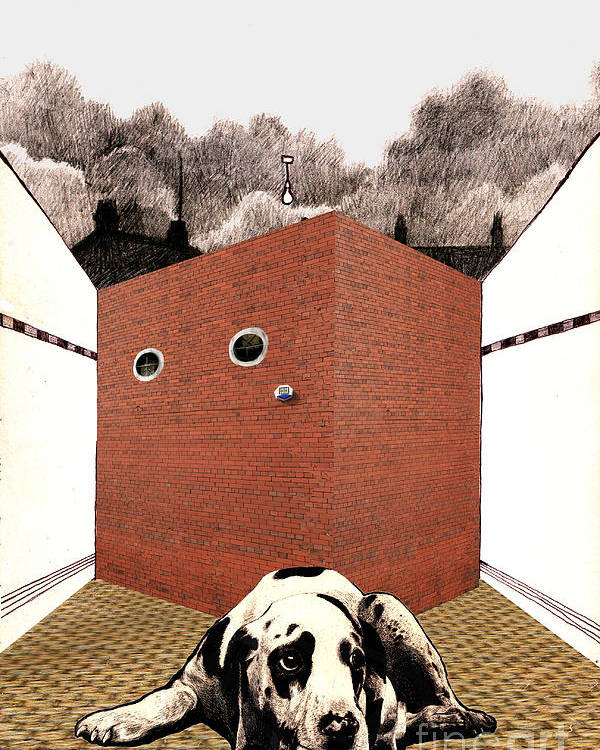 Brick Poster featuring the digital art In The Dog House by Andy Mercer