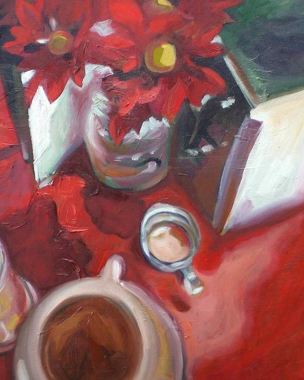 Coffee Poster featuring the painting In The Mood For Coffee by Aleksandra Buha