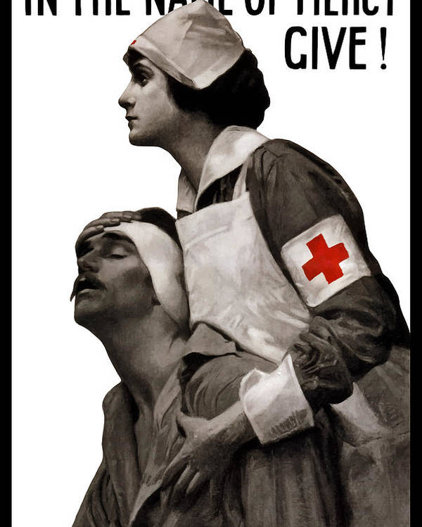 Ww1 Poster featuring the painting In The Name Of Mercy Give by War Is Hell Store