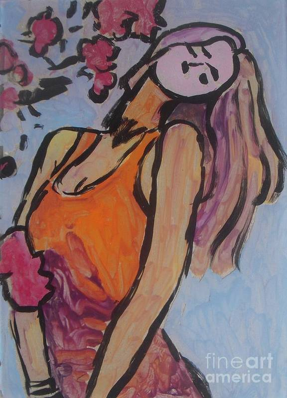 Blond Poster featuring the painting In The Shadow Of The Flowers by Vesna Antic