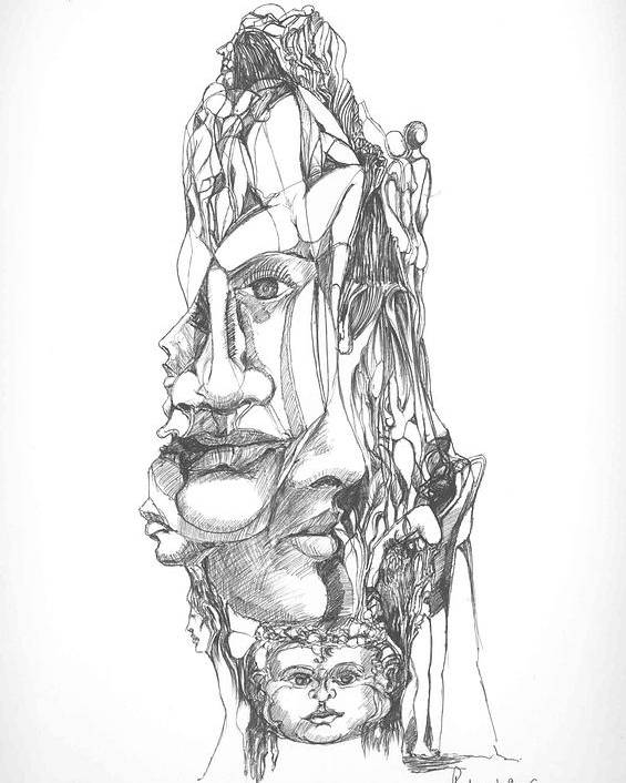 Surreal Poster featuring the drawing In Your Head by Padamvir Singh