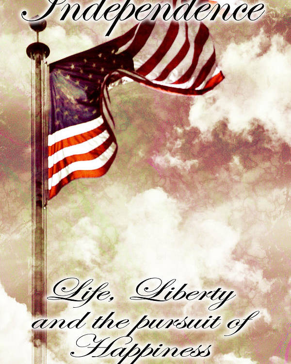 4 Poster featuring the digital art Independence Day Usa by Phill Petrovic
