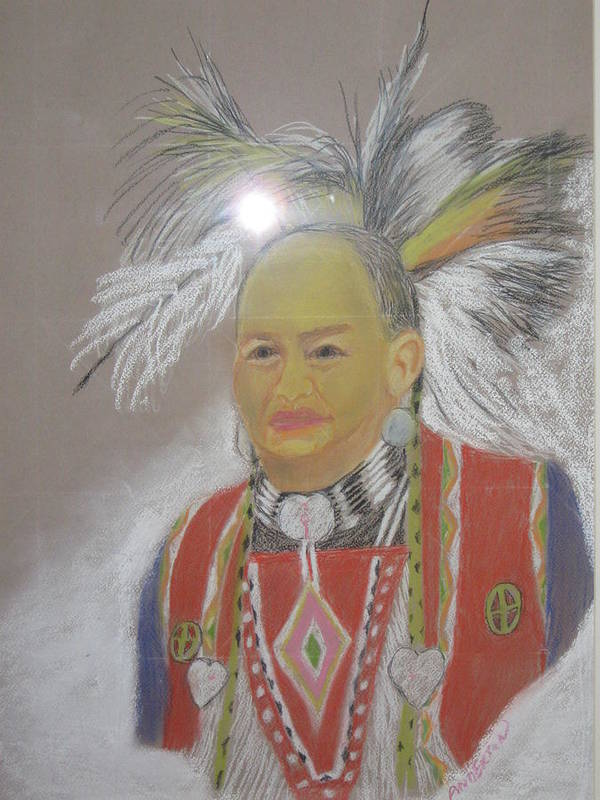 Indian Man Poster featuring the pastel Indian Chief by Geanene Anderson