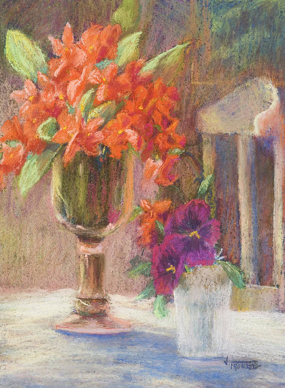 Still Life Poster featuring the painting Indian Hawthorn With Pansys by Jimmie Trotter