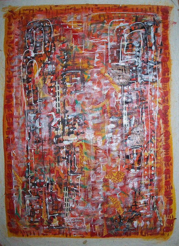 Abstract Poster featuring the painting Indian Light by Helene Champaloux-Saraswati