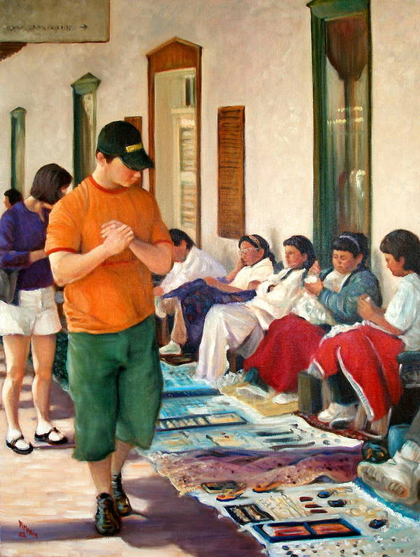 Realism Poster featuring the painting Indian Market by Donelli DiMaria