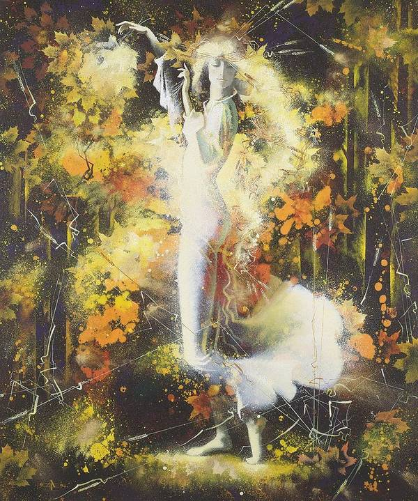 Figures Poster featuring the painting Indian Summer by Andrej Vystropov