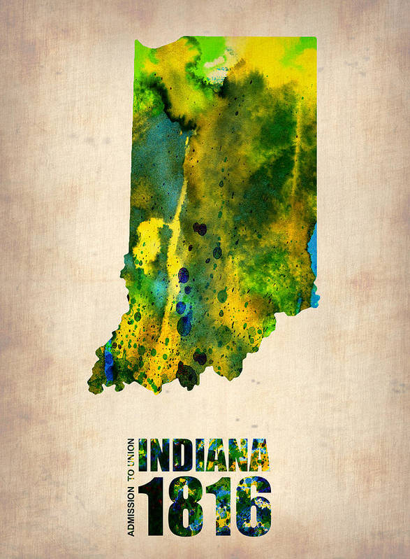 Indiana Poster featuring the digital art Indiana Watercolor Map by Naxart Studio