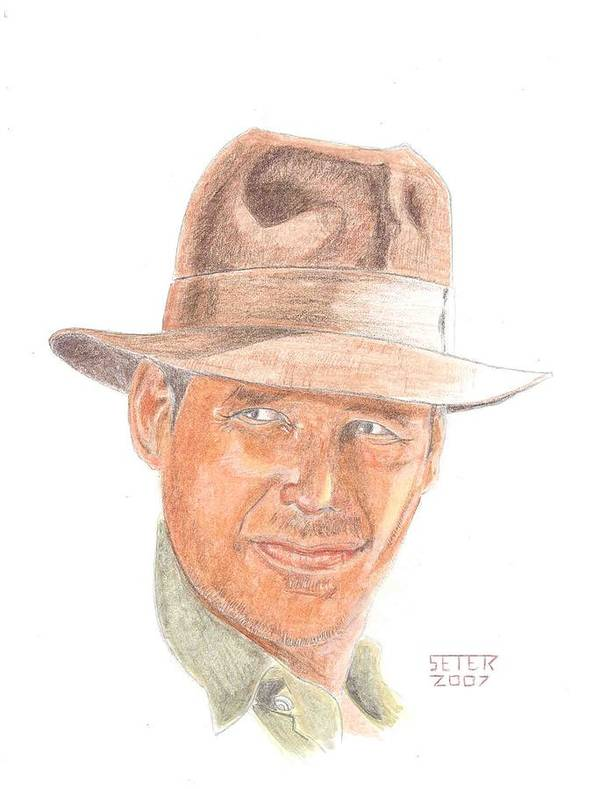 Indiana Jones Harrison Ford Poster featuring the mixed media Indy by David Seter