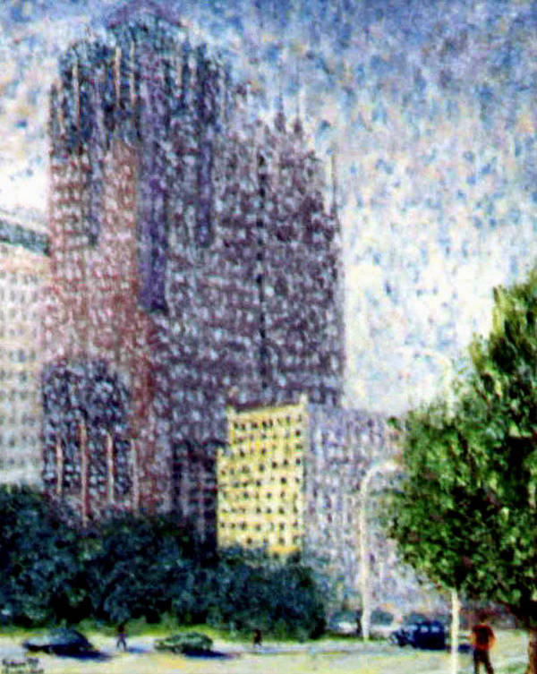 Cityscape Poster featuring the painting Indy Impressi by Stan Hamilton